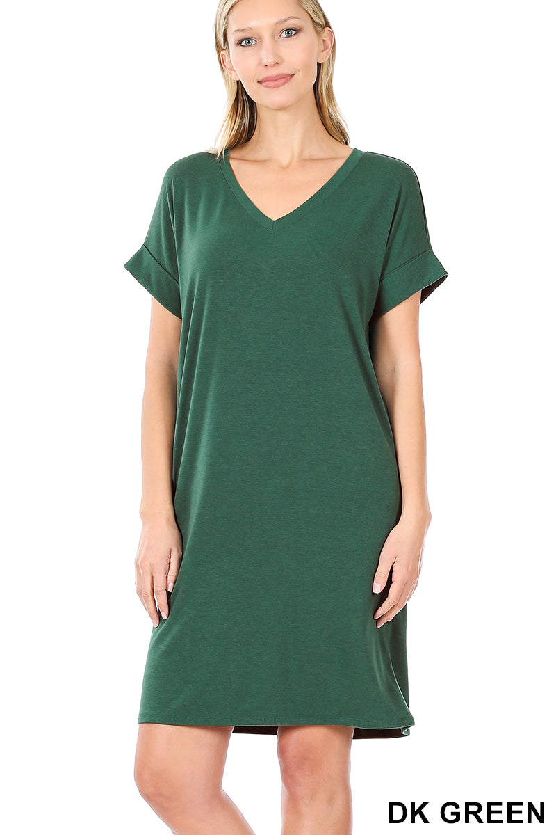 Rolled Sleeve Dress With Pockets Green Plus