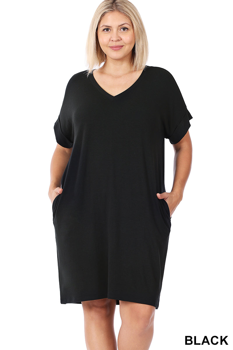 Rolled Sleeve Dress With Pockets Black Plus