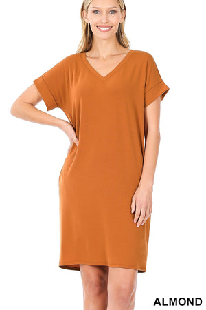 Rolled Sleeve Dress With Side Pockets Almond