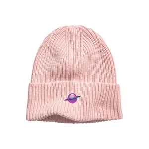 Light Pink Ribbed-Knit Beanie