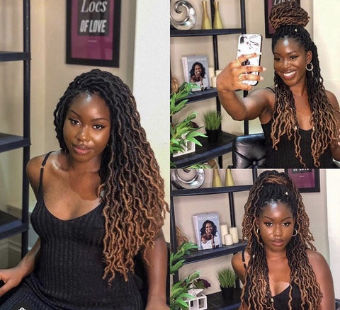 woman wearing ombre crochet faux locs, collage of faux locs hairstyles by @FauxLocsLondon