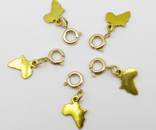 Gold Africa Map Hair Charms - 5pc