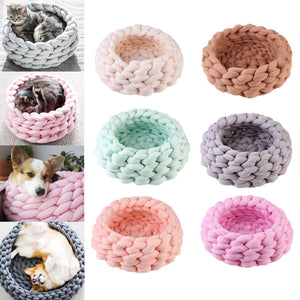 S $18/ M $20 ONLY TWO SIZES AND PASTEL COLORS Knitting Cotton Large Pet Dogs Cats Bed Mats Soft Warm Kennel Mat Puppy Cushion House