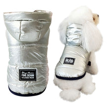 Load image into Gallery viewer, Pet Pally Cool Shiny Silver Padded Hooded Jacket Clothing for Dogs & Cats