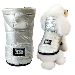 Pet Pally Cool Shiny Silver Padded Hooded Jacket Clothing for Dogs & Cats