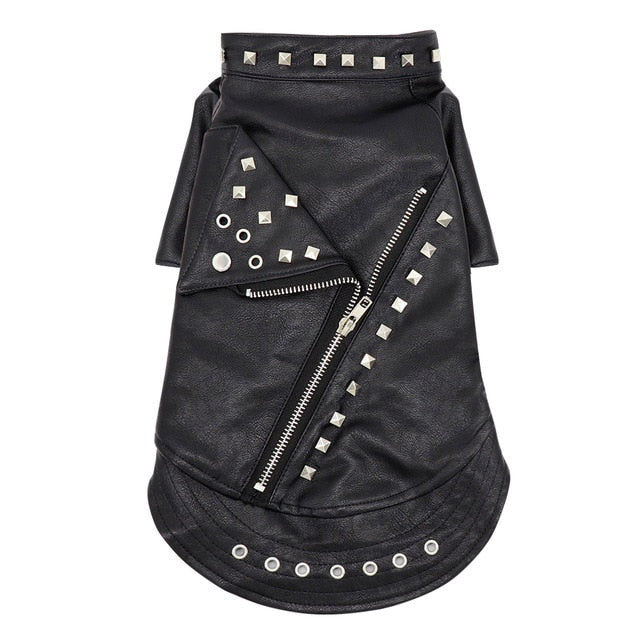 Pet Pally Classic Fashionably Chic Punk Studded Black Moto Leather Jacket for Cats and Dogs