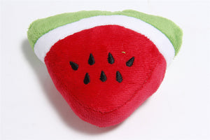 Pet Pally Watermelon Slice Cartoon Stuffed Squeaking Pet Toy for Dogs and Cat