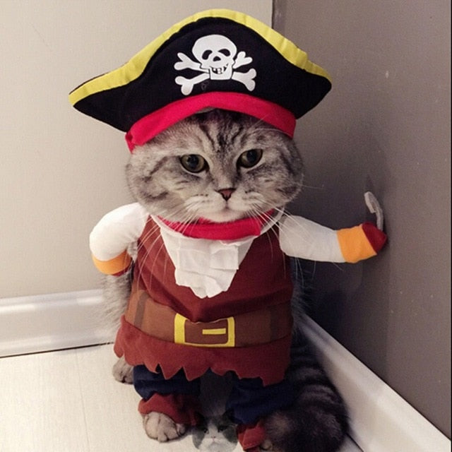 Pet Pally Cool Funny Cat Pirate Costume Clothes for Party Suit