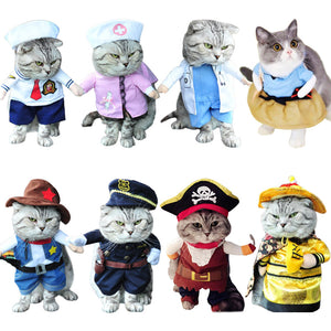 Funny Cat Clothes Pirate Suit Clothes For Cat Costume Clothing Corsair Halloween Clothes Dressing Up Cat Party Costume Suit