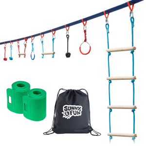 Mega Slack Line Hanging Obstacle Course with Cargo Climbing Net