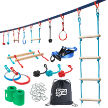 Load image into Gallery viewer, Mega Slack Line Hanging Obstacle Course with Cargo Climbing Net