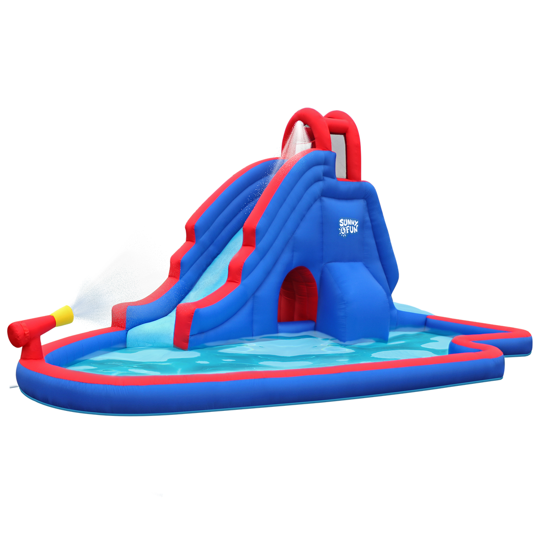 Inflatable Water Park with Slide and Water Gun