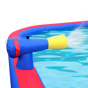 Inflatable Water Park with Large Water Slides and Basketball Hoop