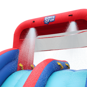 Inflatable Water Slide with Climbing Wall and Dual Slides