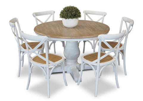 Parisienne 1200 & Cross Back Dining Suite - White
