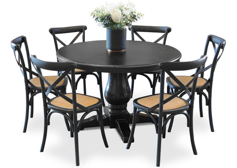Parisienne 1200 & Cross Back Dining Suite - Shabby Black