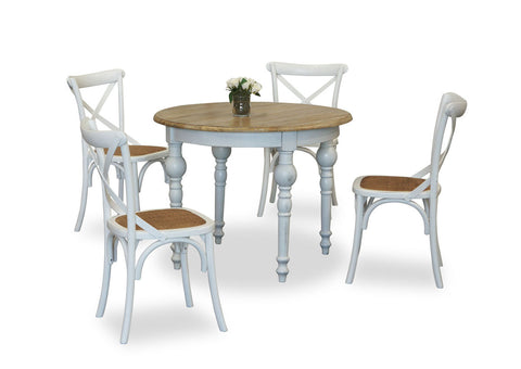 Parisienne 1000 & Cross Back Dining Suite - White