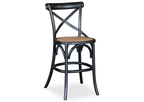 Cross Back Stool - Shabby Black