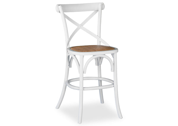 Cross Back Stool - Shabby White