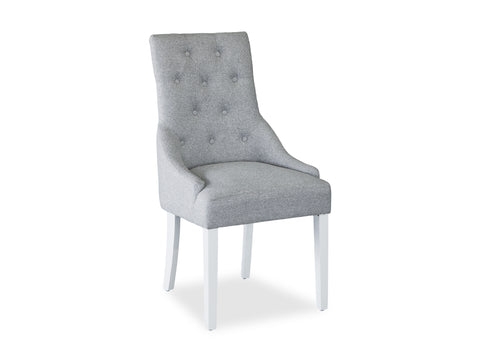 Scoop Back Chair - Light Grey (White Leg)