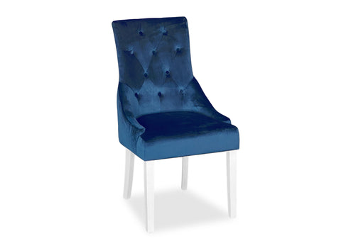 Scoop Back Chair - Blue Velvet (White Leg)
