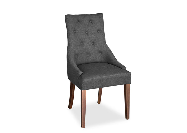 Scoop Back Chair - Dark Grey (Walnut Leg)