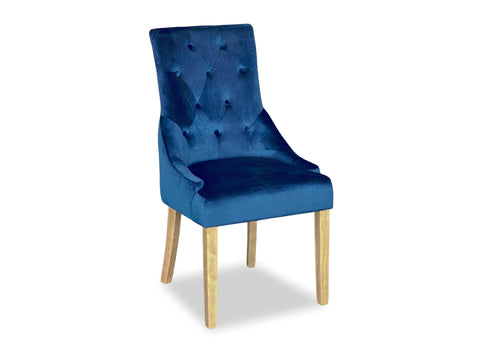 Scoop Back Chair - Blue Velvet (Timber Leg)