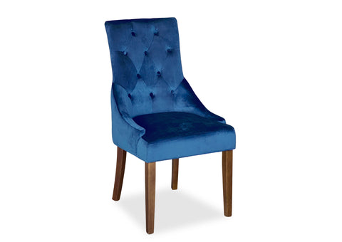 Scoop Back Chair - Blue Velvet (Walnut Leg)