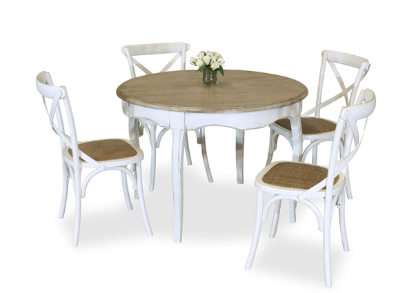 Parisienne 1100 & Cross Back Dining Suite - White