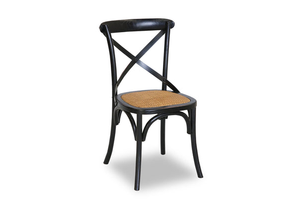 Cross Back Chair - Shabby Black