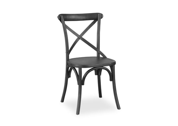 Cross Back Chair - Matte Black