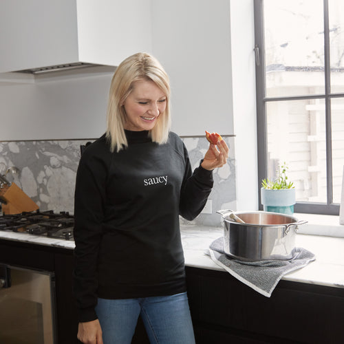 Saucy Unisex Black Crew Neck Sweatshirt
