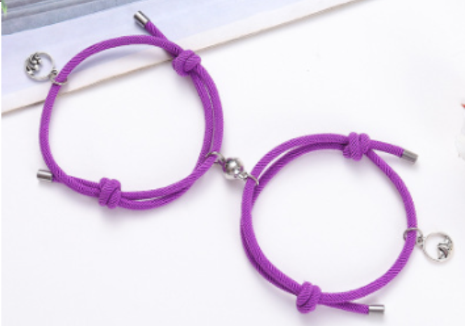 Couple Magnetic Charm Braided Rope Bracelet