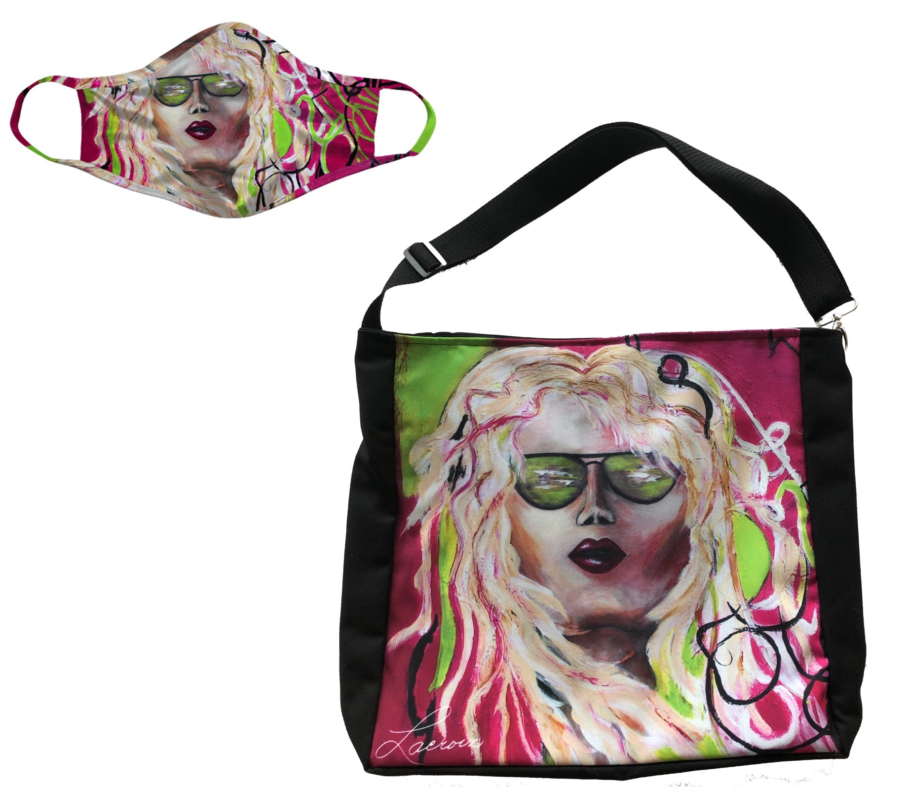 fashion face mask and matching tote bag