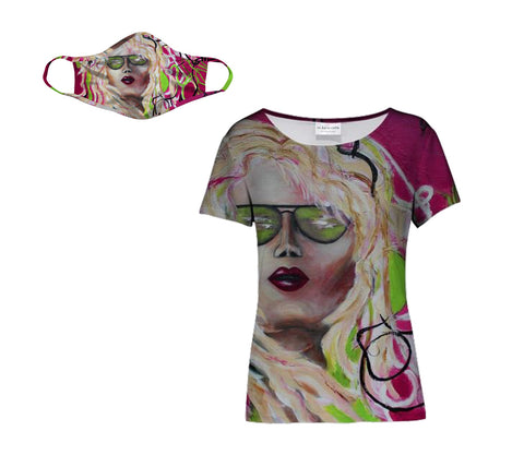 Beach Girl face mask and matching Round neck women's tee