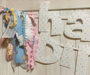 Pastel Confetti Dot Happy Birthday Banner