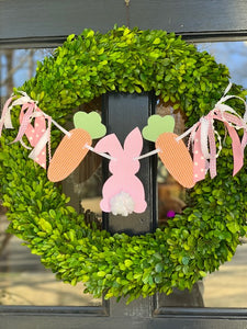 Peter Cottontail with Carrots Wreath Banner