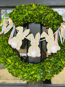 Plaid Peter Cottontail Wreath Banner