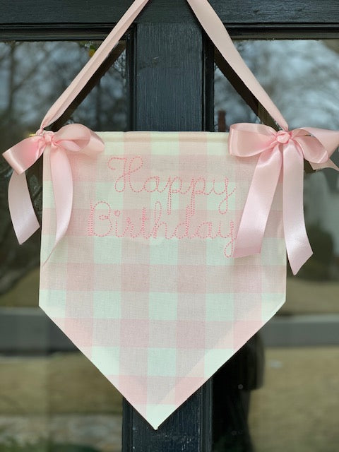 Happy Birthday Hanging Pendant in Pink and White Buffalo Checked