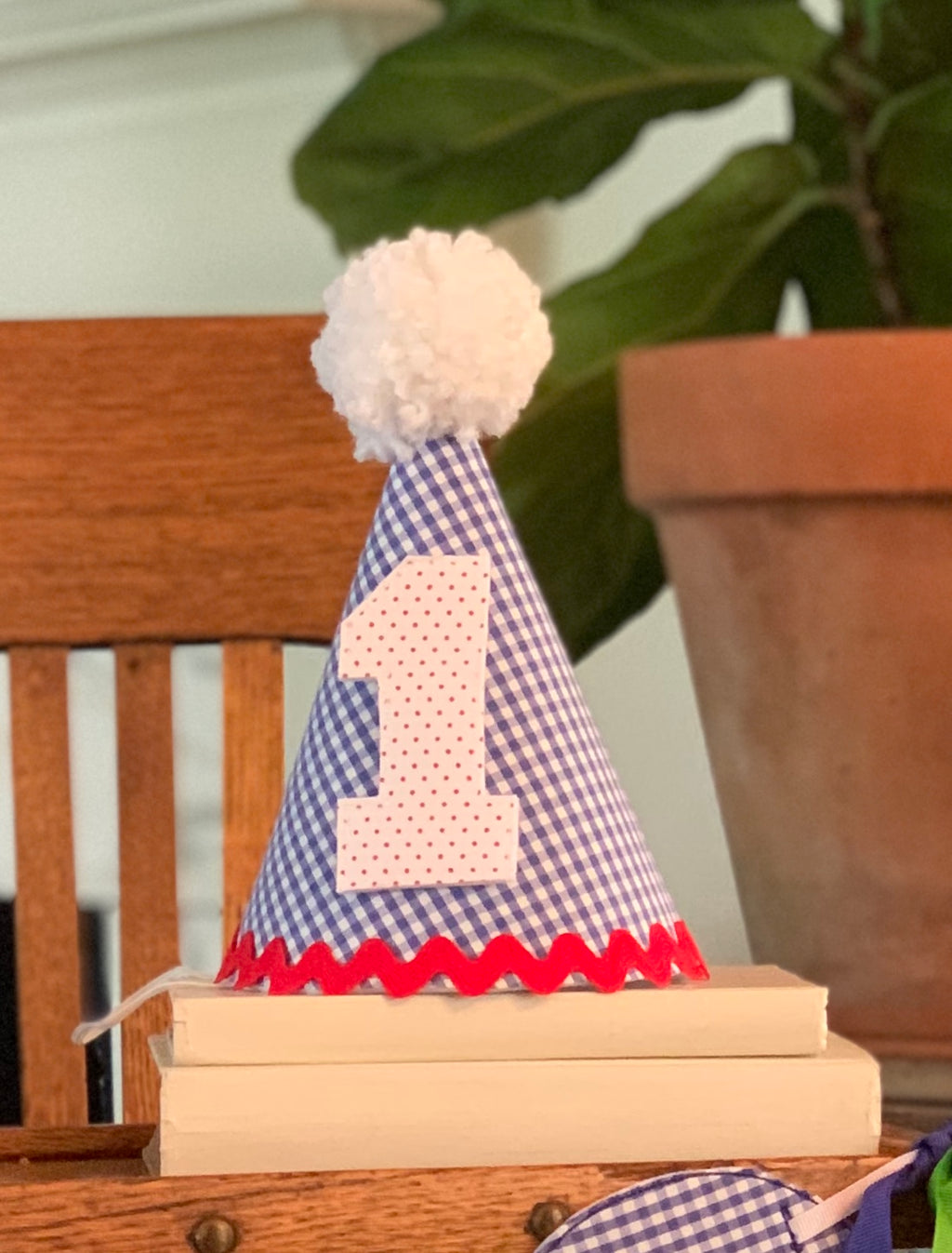 Dark Blue and White Gingham Birthday Hat