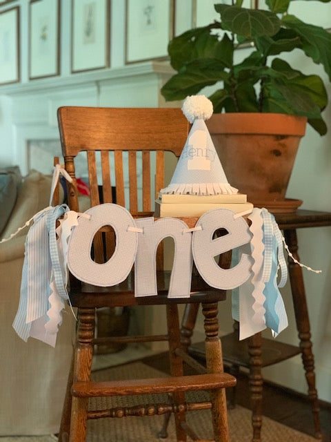 Light Blue and White Gingham ONE banner