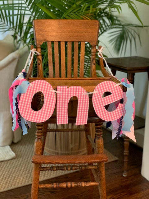 Hot Pink and White Gingham ONE Banner and Hat