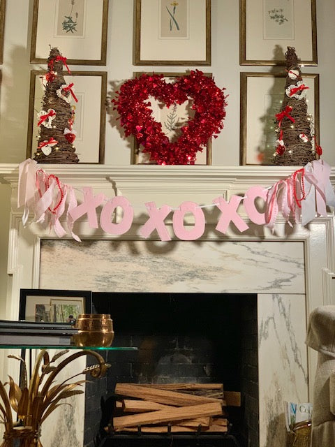 Pink and White Gingham XOXO Banner