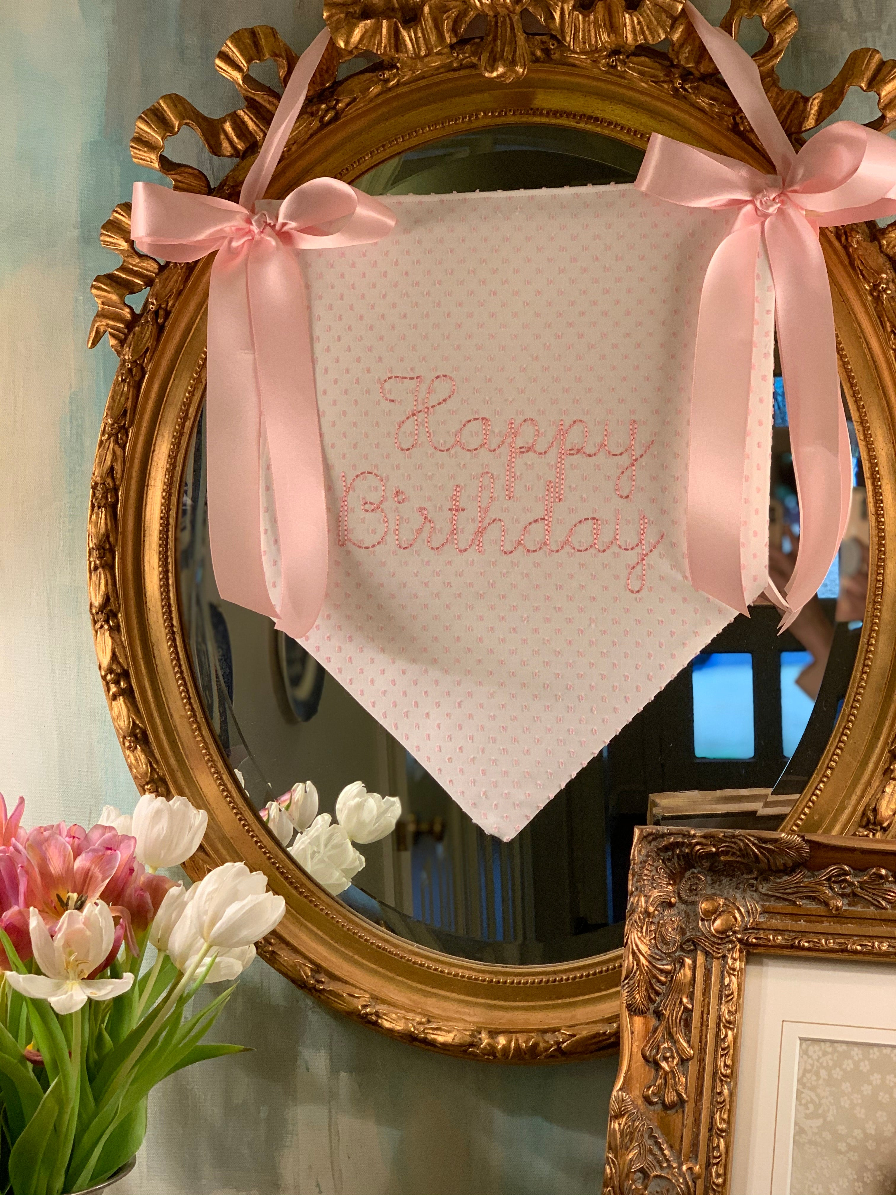 Double sided pendant banner in pink Swiss!