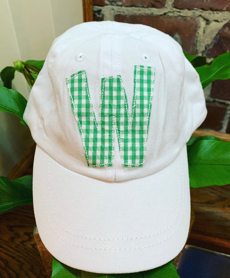White Youth Hat with SINGLE Initial