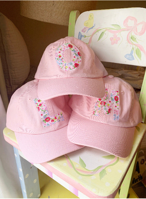 Pink hat with Red Liberty Fabric