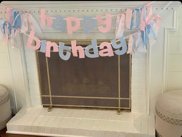 Happy Birthday Pink & Blue mixed Gingham