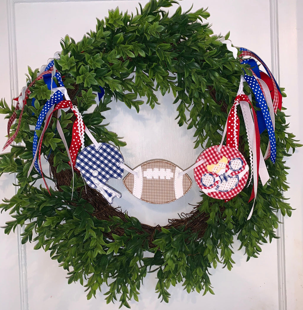 Football and Cheerleader Wreath Banner!!