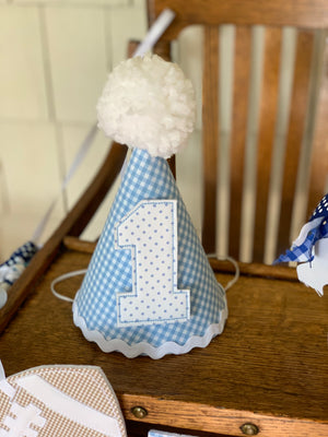Light Blue and White Gingham Birthday Hat