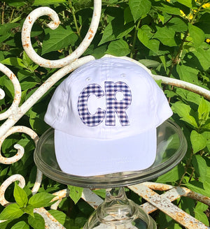 Single Initial White Hat BABY Size